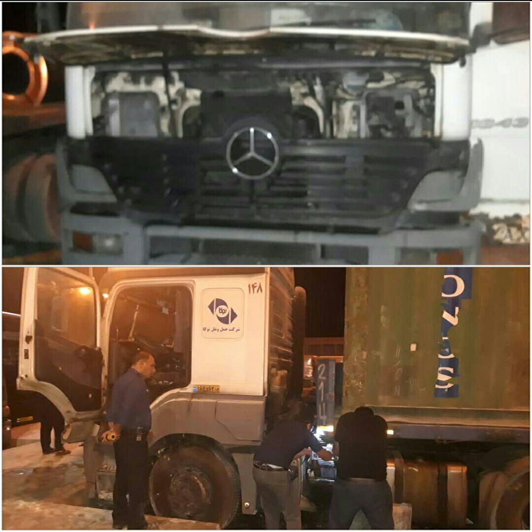 حریق کامیون کشنده در محل پارکینگ تعاونی کامیونداران قهنویه